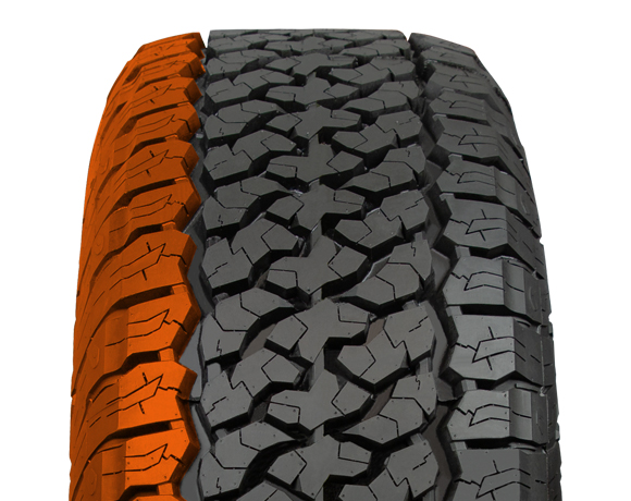 Outer block pattern on Terratoura A/T tyre